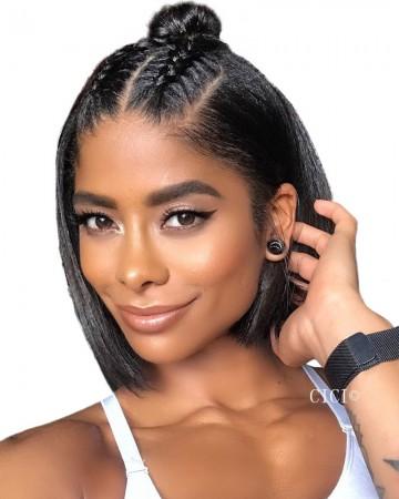CARA 150% Density Straight Super Short 13x6 Lace Front Human Hair Wigs Deep Part Bob Style Wig