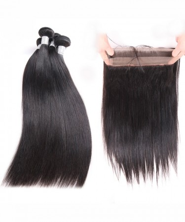 CARA Brazilian Virgin Hair Yaki Straight 360 Lace Frontal With 2 Bundles