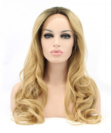 CARA Golden Yellow Women Fashion Synthetic Wig Big Blonde Wavy Lace Front Wigs