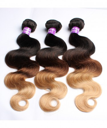 CARA Ombre Hair Bundles Peruvian Body Wave T1B/4/27 3 Tone Remy Hair Weaves Machine Double Weft 3 Bundle