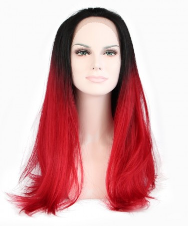 CARA 1B/Red Ombre Wigs Women Fashion Synthetic Wig Lace Front Wig