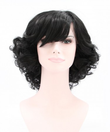 CARA Black Lace Front Wig Side Part Short Curly Synthetic Wig With Bang
