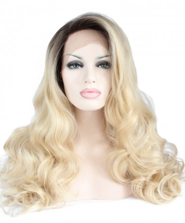 CARA Ombre Wig Side Part Synthetic Wigs 1B/Blonde Wig Lace Front Wig