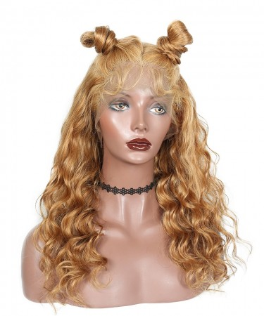 CARA #27 Honey Blonde Loose Wave Lace Front Wigs Human Hair with Baby Hair 250% Density