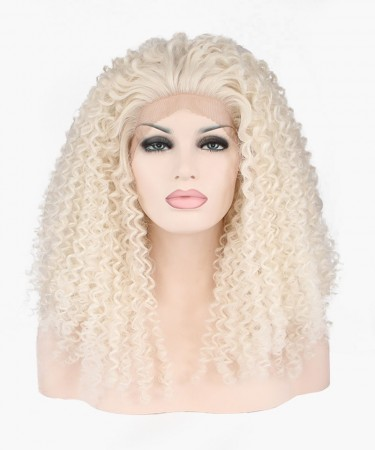 CARA Light Blonde Deep Curly Synthetic Wig Lace Front Wig