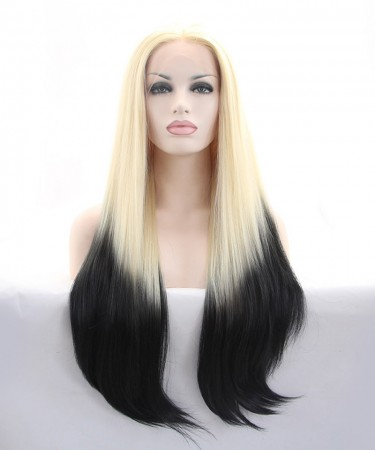 CARA Blonde Root Black Wig Ombre Wig Synthetic Wig Lace Front Wig