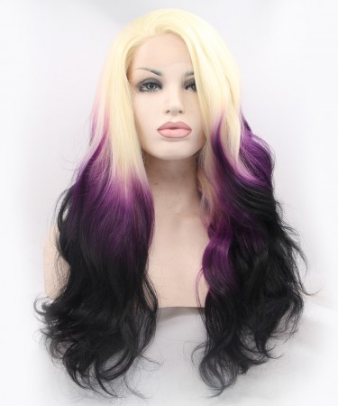 CARA Blonde Purple Ombre Wig Lace Front Wig Women Fashion Synthetic Wig
