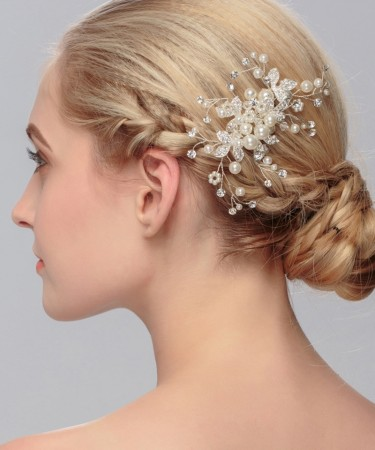 European and American brides headdress wedding accessories handmade pearl dish hair accessories.