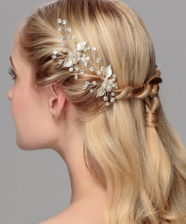 1PCS Pearl Rhinestone Hair plug wedding bride headdress handmade jewelry small hairpin wedding hair accessories for headdress