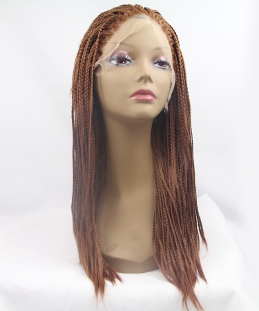 CARA Brown Color Braided Synthetic Wig Lace Front Wig