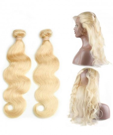 CARA 613 Blonde Color 2 Bundles with 360 Lace Frontal Body Wave