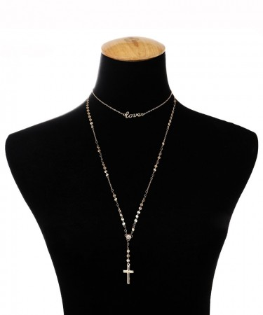 1Pcs European and American accessories simple fashion European style of the character of the letter LOVE copper sequins diamond necklace female.