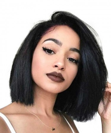 180% Density Full Lace Human Hair Wigs Straight Short Bob Wigs For Black Women