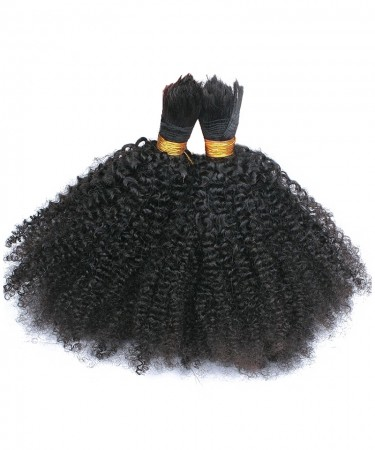 CARA Brazilian Afro Kinky Curly Braid in Bundles Hair Weave 3Pcs Human Hair Natural Color