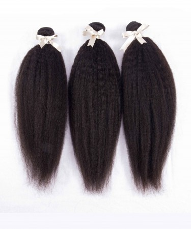 CARA Peruvian Virgin Hair Kinky Straight 100% Human Virgin Hair Weave 3 Bundles