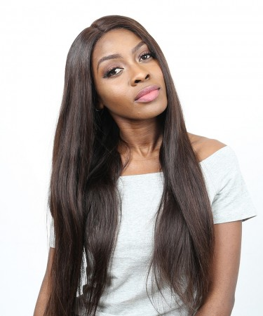 CARA 250% Density Straight Lace Front Human Hair Wigs With Baby Hair #2 Color Brazilian Remy Hair Bleached Knots