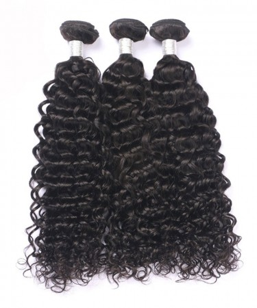 CARA Peruvian Virgin Hair Natural Black Deep Curly Double Weft Human Hair 3 Bundles