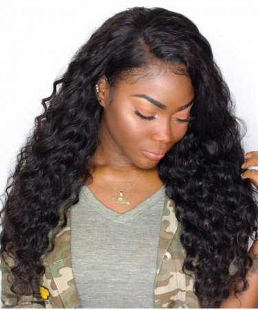 CARA Deep Wave Pre Plucked Full Lace Human Hair wigs 120% Density Brazilian Virgin Hair