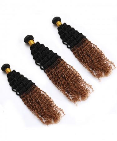CARA Ombre Human Hair Bundles 3 Pcs Afro Kinky Curly Hair Bundles 1B/30