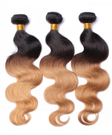 Brazilian Hair Weave Bundles 3 Pcs Ombre 1b/27 Honey Blonde Hair