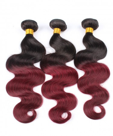 CARA Brazilian Virgin Hair 3 Pcs Ombre Weave Bundles 1B/99J Burgundy Brazilian Hair