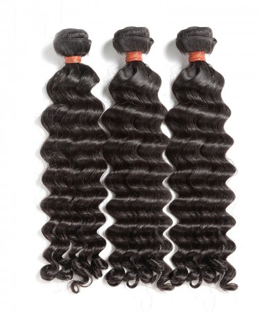 CARA 3 Bundles Deep Wave Malaysian Virgin Hair Deep Curly 100% Human Hair Extensions
