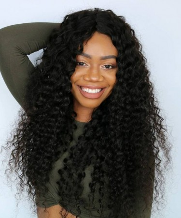 CARA Pre Plucked Deep Curly Full Lace Human Hair Wig No Combs No Straps Glue Needed