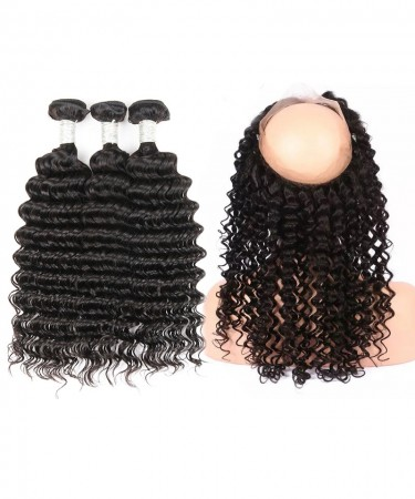CARA Human Hair Deep Wave 360 Lace Frontal Closure With 3 Bundles