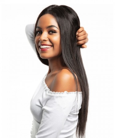 CARA Silky Straight 250% Density Lace Front Human Hair Wigs Pre Plucked