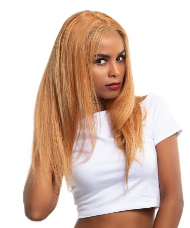 CARA 250 Density Strawberry Blonde #27 Color Loose Wave Lace Front 100% Human Hair Wigs