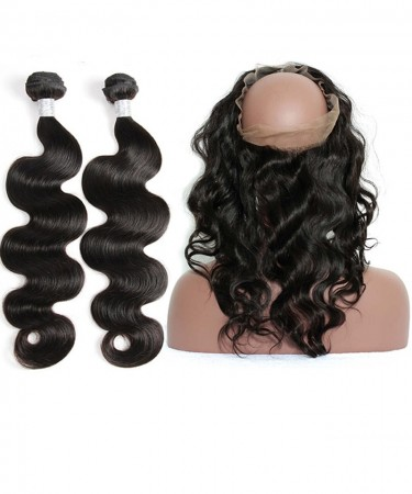 CARA Body Wave 360 Lace Frontal Closure With 2 Bundles Natural Color