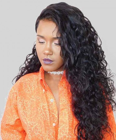 CARA 180% Density 360 Lace Frontal Wig Pre Plucked With Baby Hair Water Wave Wigs For Black Women