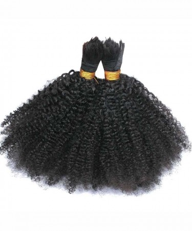 Human Braiding Hair Bulk No Attachment Mongolian Afro Kinky Curly Crochet Braids