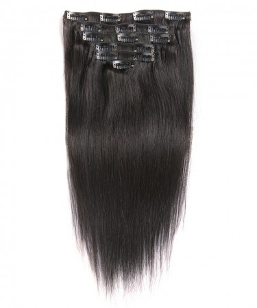 CARA Brazilian Straight Virgin Hair Clip In Human Hair Extensions 7 Pieces/Set Natural Color