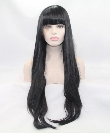 CARA Black Long Straight Lace Front Wig Synthetic Wig With Bang