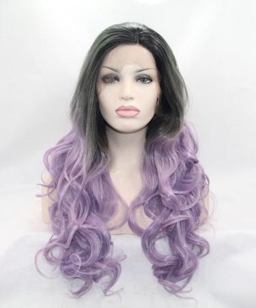 CARA Ombre Wig Grey/Light Purple Synthetic Wig