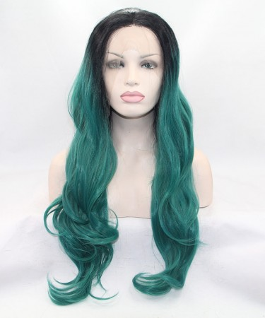CARA Long Wavy 1B/Green Ombre Synthetic Wig Lace Front Wig