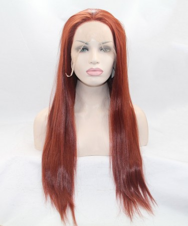 CARA #130 Red Color Long Straight Synthetic Wig For Black Women