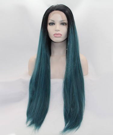 CARA 1B/Blue Ombre Long Straight Synthetic Wig