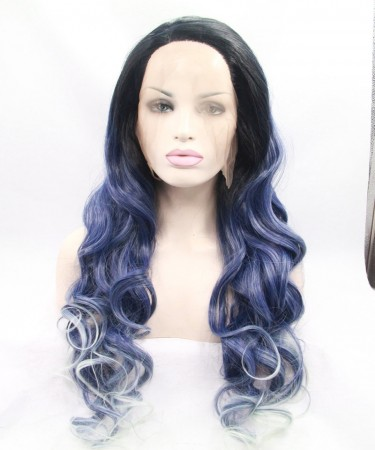 CARA 1B/Blue With White Highlight Synthetic Wig For Black Women