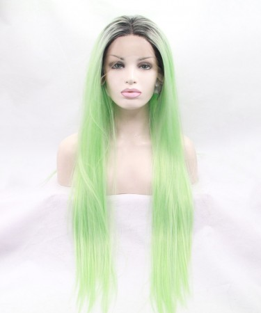 CARA Grey/Light Green Ombre Straight Fashionable Synthetic Wig