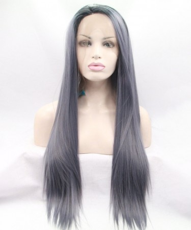 CARA Hot Sales Grey Color Synthetic Wig Lace Front Wig