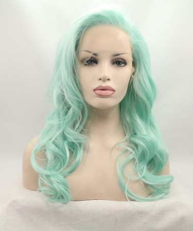 CARA Light Green Lace Front Wig Wavy Synthetic Wig