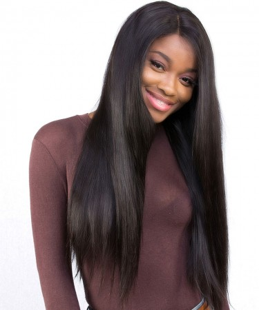 CARA Pre Plucked Straight Full Lace Wig Human Hair 120% Density Natural Color