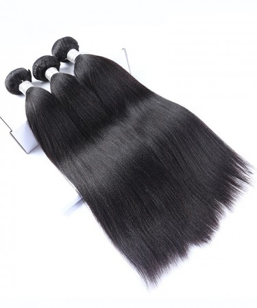 CARA Malaysian Virgin Hair 3 Pcs Yaki Straight Bundles 100% Human Hair