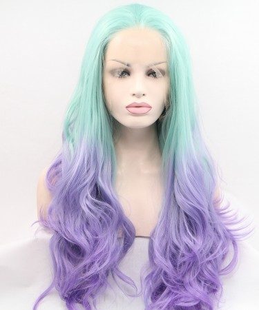 CARA Bright Blue and Purple Ombre Wig Long Wavy Synthetic Wig