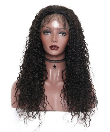 CARA 14inch Glueless Full Lace Human Hair Wigs with Baby Hair Deep Curly 150% Density