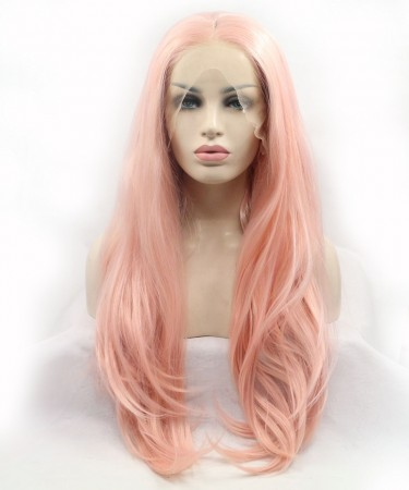 CARA Pink Champagne Lace Front Wig Long Wavy Synthetic Wig