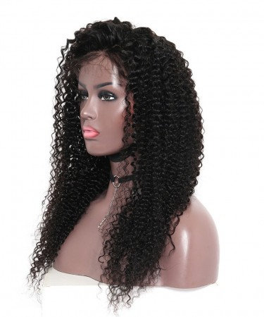 CARA Kinky Curly Silk Base Lace Front Wig Human Hair With Baby Hair 130% Density 18Inch