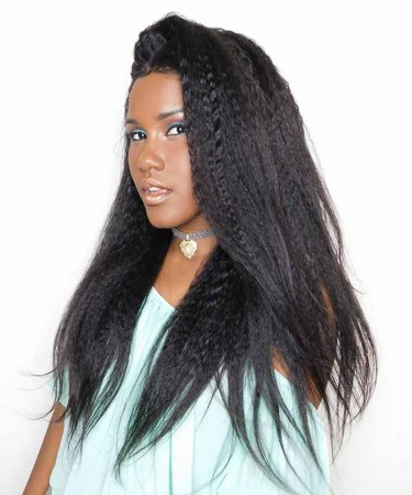 CARA Kinky Straight Pre Plucked Full Lace Human Hair Wigs For Black Women Natural Looking